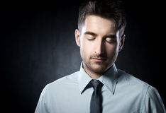 Eyes closed. Young handsome man with eyes closed and relaxed stock photos