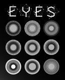 Eyes collection, human pupil Royalty Free Stock Photography