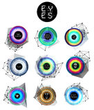 Eyes collection, human pupil Stock Images