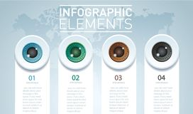 Eyes color infographic. Vector template with 4 options.. Eyes color infographic. Vector template with 4 options. Can be used for web, diagram presentation Stock Photos