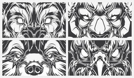 Eyes dangerous animals, tattoo style vector background Royalty Free Stock Image