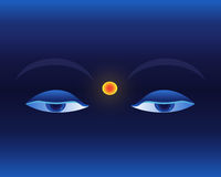 Eyes on deep blue background Royalty Free Stock Images