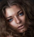 eyes den blåa stilen för skönhet nätt barn för flicka arkivbild