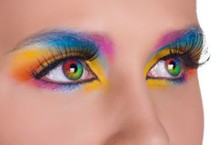 eyes den mångfärgade kvinnlign arkivbilder