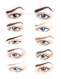 Eyes of different color and shape. The hand drawing of differently colored and shaped eyes. The drawing is made in watercolor Stock Photography