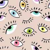 Eyes doodle vector hand drawn seamless pattern. Closed and open eye. The pattern for the fabric, cover. royalty free illustration