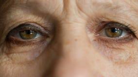 Eyes of elderly women look at camera stock footage