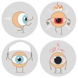 Eyes emoções do mau do ícone dos desenhos animados Irritado, corrida, expressão paciente foto de stock royalty free