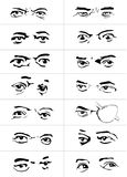 Eyes with emotions1. Different gestures and emotions of a eyes Stock Images