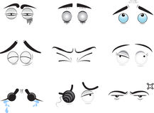 Eyes and emotions. A series of illustrations of human eyes with eyebrows with different emotions stock illustration