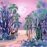 The Eyes of the Enchanted Misty Forest. Misty, pink and green pastel shades forest, full of little animals with bright eyes, hidden on the dense vegetation; an vector illustration