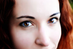 These Eyes. An extreme close up of a woman's eyes and central face. Focus is centred on her right eye stock photos