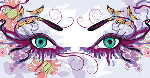 Eyes with floral designs Royalty Free Stock Photos