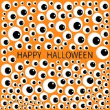 Eyes frame. Eyeball apple set. Happy Halloween baby card.. Spooky orange funny background. Flat design. Vector illustration Stock Images
