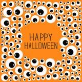 Eyes frame Halloween card. Spooky orange background Flat design. Stock Images