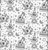 Eyes funny seamless pattern. Cartoon eyes black and white funny hearts stars circle background Royalty Free Stock Image