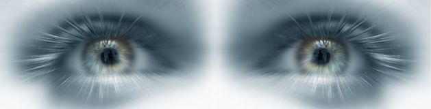 Eyes Future vision. Banner in blue Stock Images