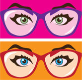 Eyes in glasses Royalty Free Stock Photos