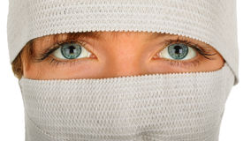 Eyes of great beauty and bandages Stock Images