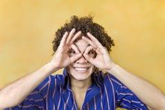 eyes hand man over smiling στοκ εικόνες με δικαίωμα ελεύθερης χρήσης