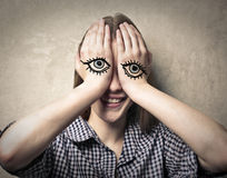 Eyes on hands Royalty Free Stock Photography