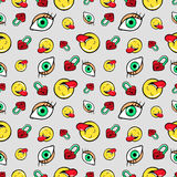 Eyes Heart Locks and Emoticons Seamless Pattern. Fashion Background in Retro Comic Style Royalty Free Stock Image