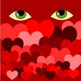 Eyes and hearts. Abstract background with eyes and hearts Royalty Free Stock Photos