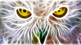 Eyes , i spy. The yellow piercing eyes of a snow owl , illustration , i spy concept , big brother is watching stock illustration