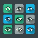 Eyes Icons Flat Set Stock Image