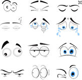 Eyes illustration. A set of illustrations of human eyes with eyebrows with different emotions stock illustration