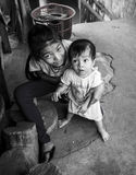 The eyes. The kids by their home in Binh Duong province, Vietnam Stock Photos