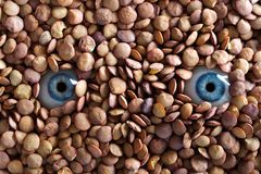 Eyes and lentils Stock Photography