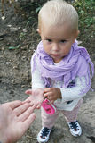 Eyes like gimlets. Little girl royalty free stock images