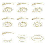 Eyes and lips Royalty Free Stock Photos