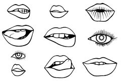 Eyes and lips icons set Stock Photography