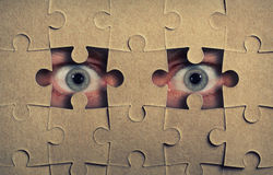 Eyes look out from the puzzle Stock Photography