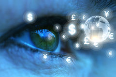Eyes looking at currency symbols. Stock Images