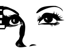 Eyes Looking Up. Expressive graphic eyes close up royalty free illustration