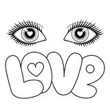 Eyes and Love. Eye and love vector illustration. Love black and white cartoon for fashion textile prints, valentines, greeting cards Stock Image