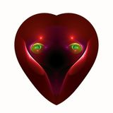 Eyes of love in a heart. Abstract fractal heart with eyes of love Stock Photography