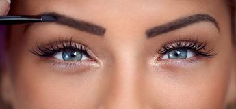 Eyes makeup close-up. Eyes, close up of beautiful woman with makeup eyes Royalty Free Stock Photo