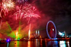 Eyes on Malaysia. Fireworks at Eyes on Malaysia - Ferris wheels in Kualal Lumpur Stock Photo