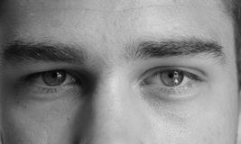 Eyes of a man black and white Royalty Free Stock Photos