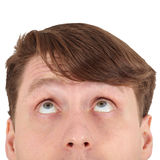 Eyes of man looking up close. Eyes of a young man looking up close Stock Image