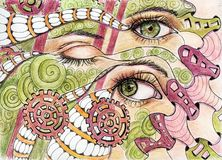 3 eyes markers drawings stock illustration
