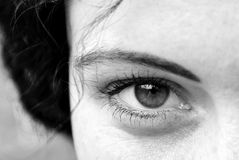 The eyes are the mirror of the soul. The original black and white photo of a woman's face. The eyes reflect the love, tenderness and melancholy Royalty Free Stock Photos