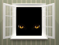 Eyes of monster  in open window Royalty Free Stock Photos