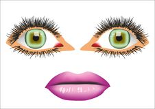 Eyes and mouth. Two eyes and one mouth Royalty Free Stock Images
