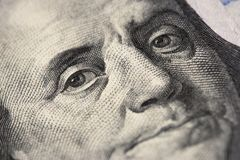 Eyes of New American 100 dollar bill, 100 bucks, one hundred US stock image