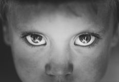Eyes o rapaz pequeno do close-up fotografia de stock royalty free
